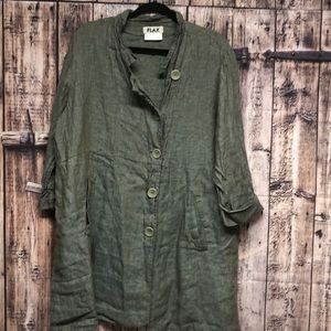 FLAX large 100% linen button down tunic in herb